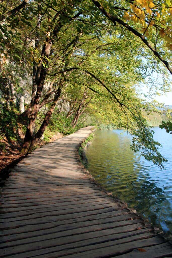 Empty boardwalks in the early morning light in Plitvice Lakes National Park