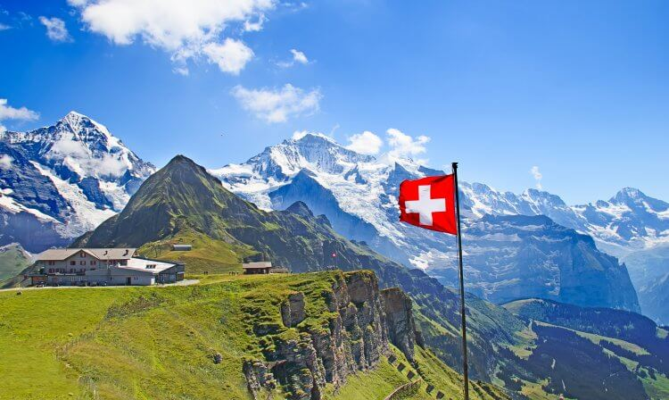 Swiss flag in the forefront with snow capped mountains in the background and green grass.