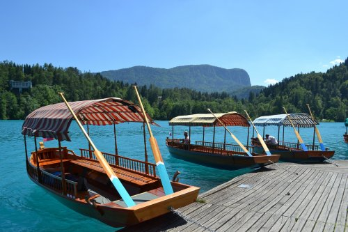 Boats along the shore at Lake Bled, Slovenia