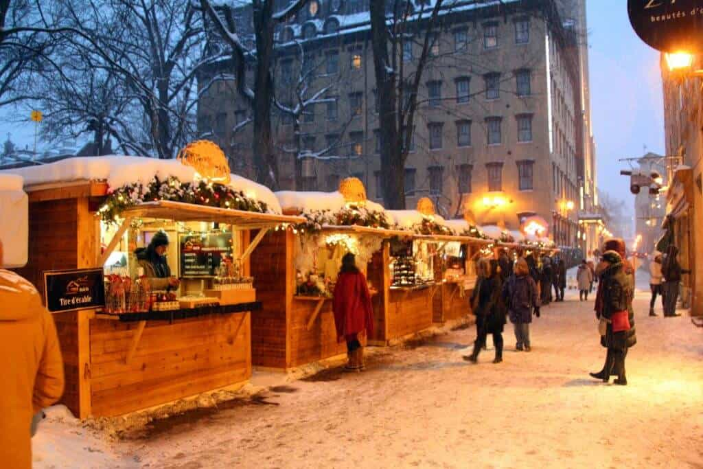 Old Quebec City Christmas Market in the snow