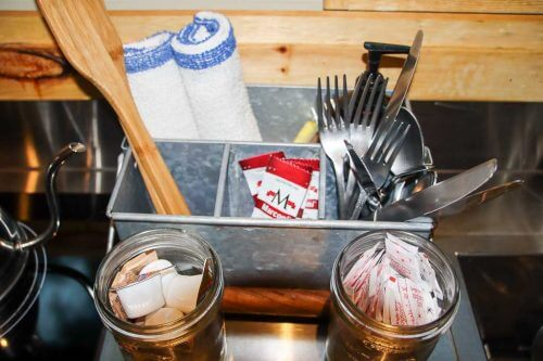 Cooking ware inside the tiny cabin at the Getaway House DC