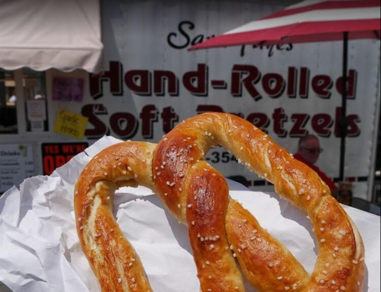Lancaster attractions for food lovers includes the pretzel food truck located near the Bird-in-Hand Bakeshop