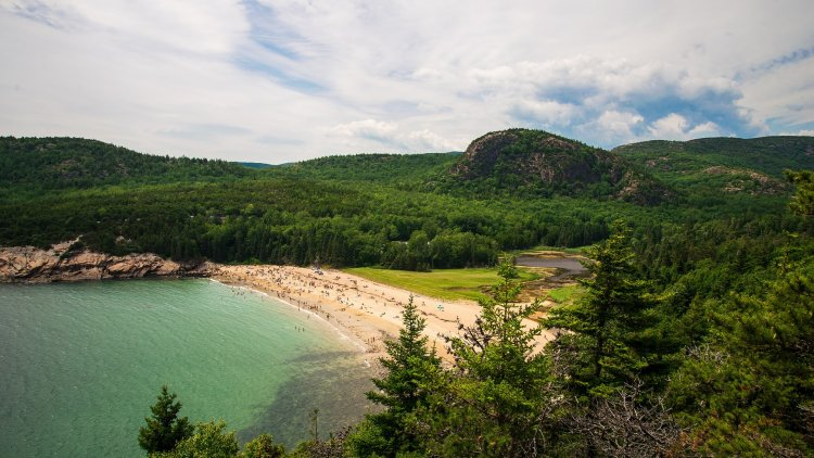 Acadia National Park beach view from the trail.