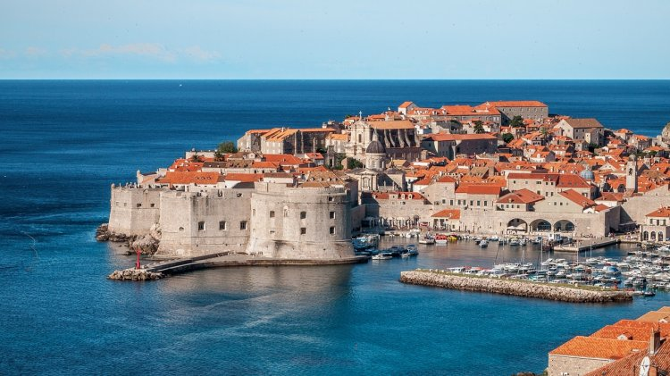 Dubrovnik, Croatia looking towards the old city with the walls surrounding the town.