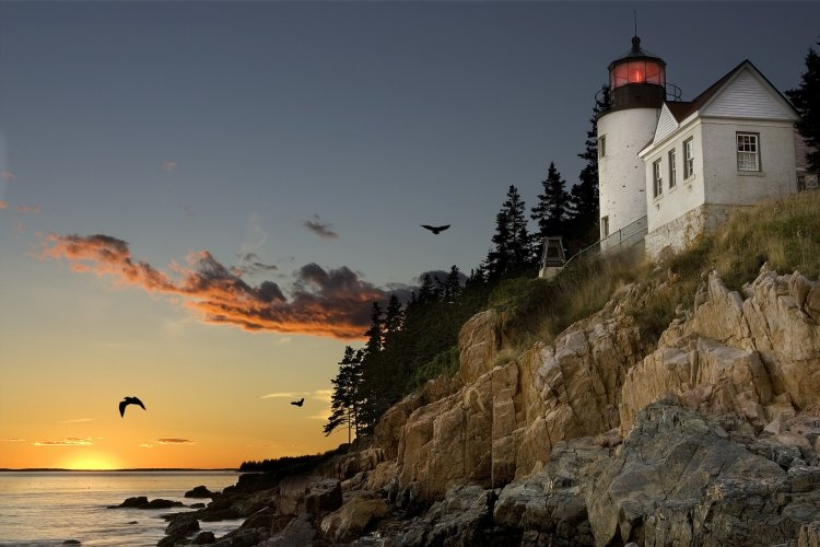Bass Harbor Lighthouse sunset.