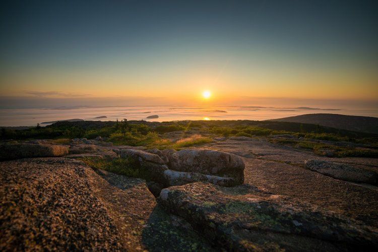 Sunrise over Cadillac Mountain at Acadia National Park in Maine