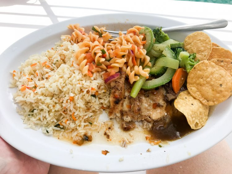 Catamaran Ocean King Costa Rica lunch with fresh fish, rice, pasta, vegetables, chips & salsa.