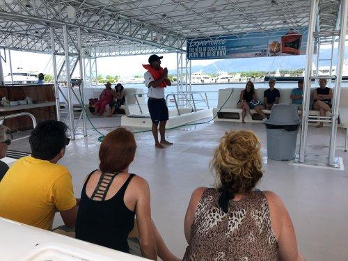 Ocean King Quepos, Costa Rica safety briefing on board.