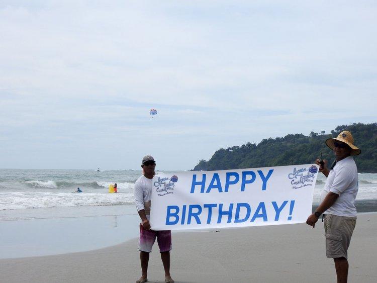 Parasailing Manuel Antonio Costa Rica Happy Birthday sign.