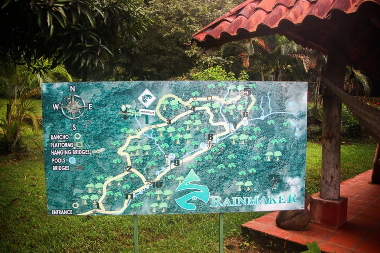 Trail system map at Rainmaker Costa Rica.