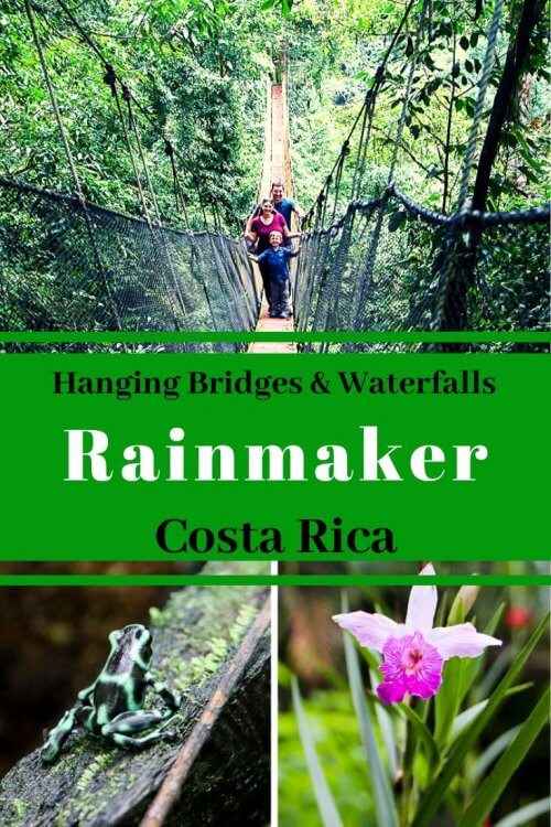 Rainmaker in Costa Rica is an off the beaten path attraction close to Quepos, Costa Rica and the famous Manuel Antonio National Park. Rainmaker Conservation Project should be on your list of things to do in Costa Rica if you want to find unique wildlife such as the poison dart frog and eyelash pit viper. Well known for its hanging bridges and waterfalls, a visit to Rainmaker Park is a must. Check out our detailed guide for your upcoming visit! #costarica #ecotourism #hangingbridges #wildlife #rainforest