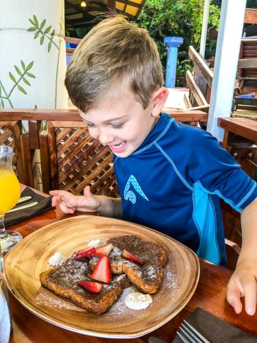 Breakfast at Tule Cafe: Boy with nutella french toast