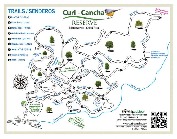 Map of Curi Cancha showing the trail systems, bathrooms, rest areas and entrance.