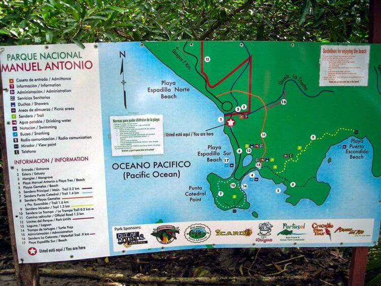 Hiking trails Manuel Antonio National Park Map