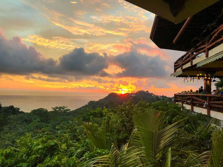 Sunset views at one of our recommended Manuel Antonio Restaurants.