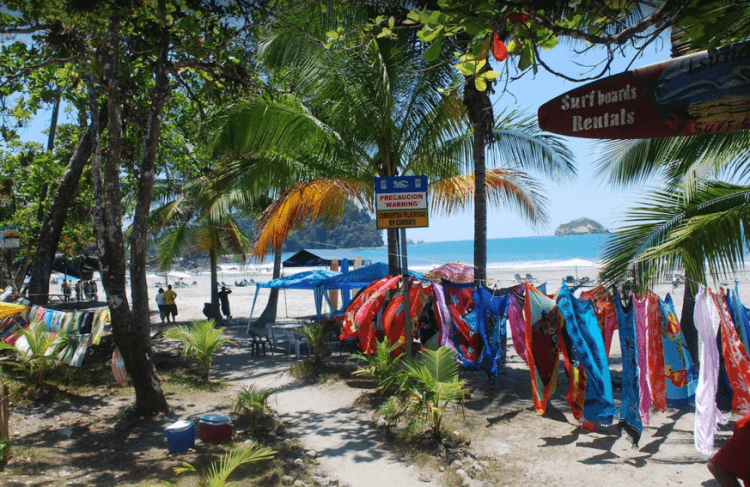 One of the things to do around Manuel Antonio is visiting the local beaches and enjoying the various vendors who offer surf boards and other rentals.