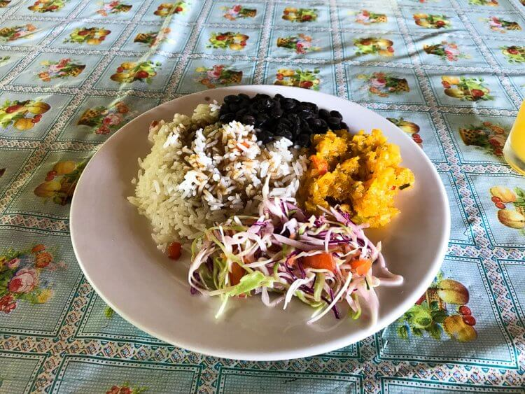 Casados lunch with rice, beans, pico, salad and a choice of meat.