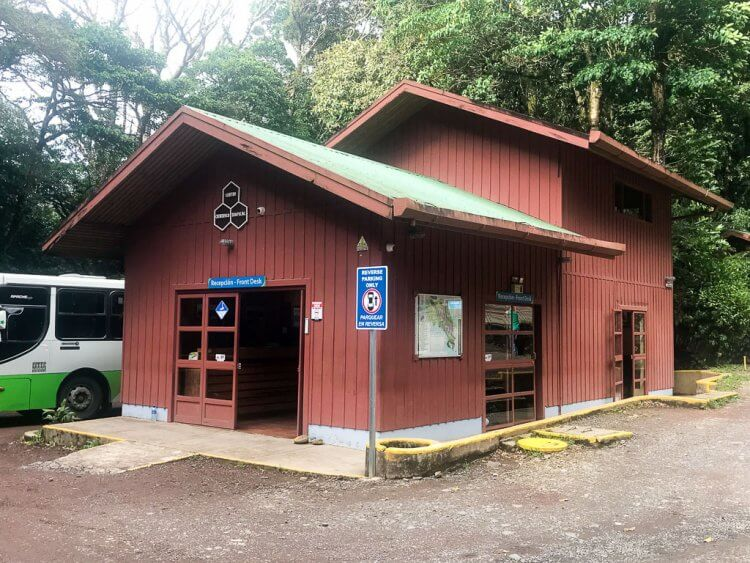Red building at the entrance of the Monteverde Cloud Forest Reserve where you purchase tickets to enter.