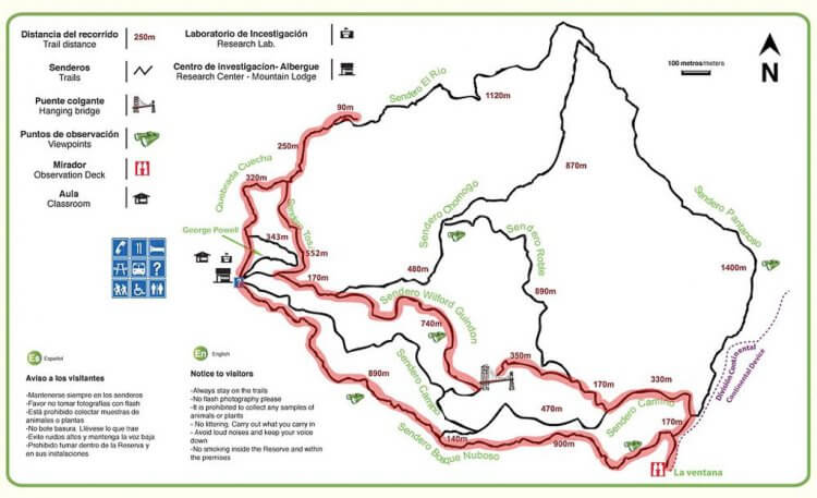 Trail Map of the Monteverde Cloud Forest Reserve