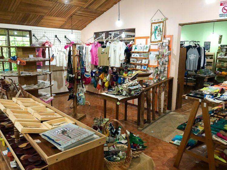 Interior showing gifts for sale at CASEM--Cooperative of Artisans Santa Elena Monteverde