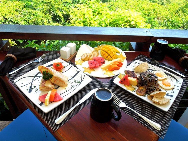 Breakfast spread at Tulemar Resort in Costa Rica.