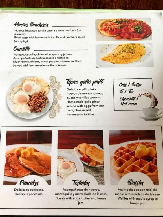 Breakfast menu offering pancakes, waffles, eggs, toast and specialty drinks.