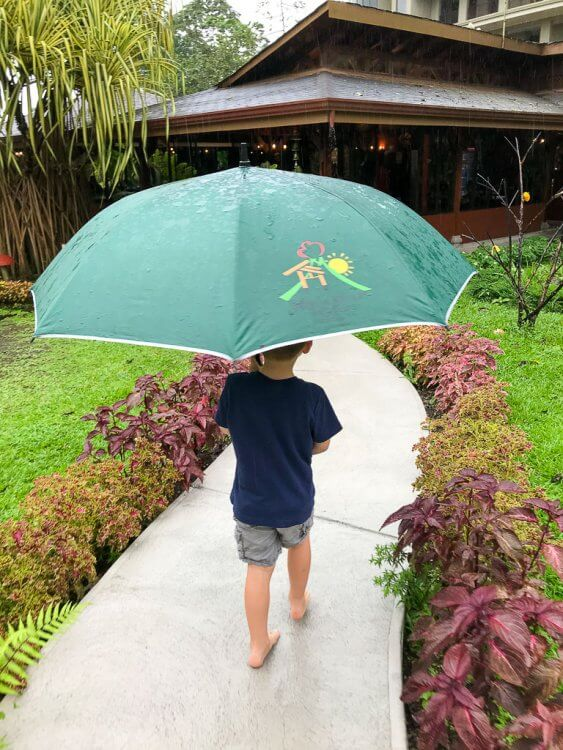 Little boy holding a large green umbrella from the hotel, walking in the rain.