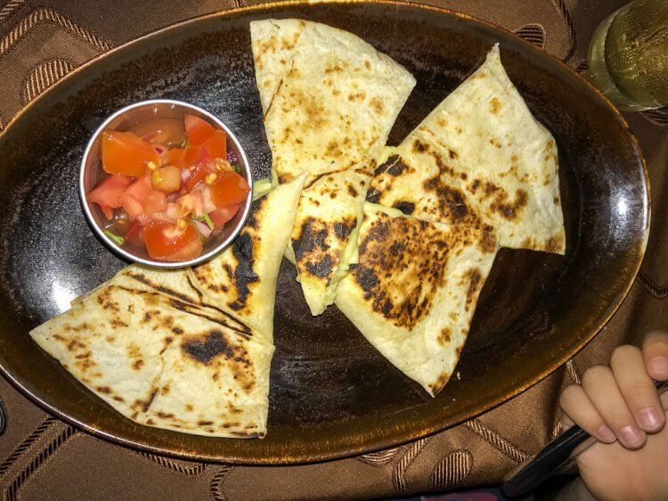 Quesadillas with salsa.