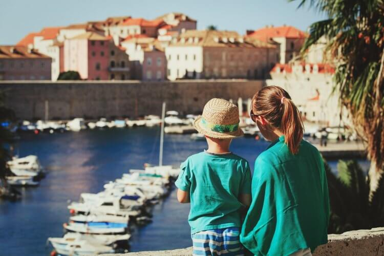 Mother and son looking at Dubrovnik, Croatia, Europe