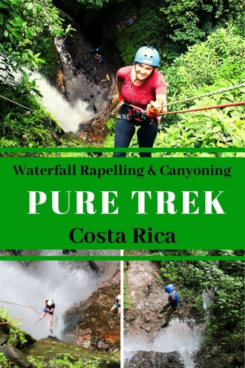 "Check out why you should book your next Arenal Canyoning adventure with Pure Trek Canyoning Costa Rica. Descend over waterfalls, take a dip on their fun ""monkey drop"" adventure and laugh along the way. #puretrek #canyoning #waterfallrappelling"