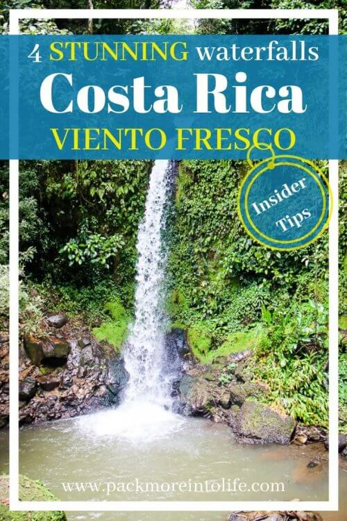 Viento Fresco Waterfalls is the perfect stop on your way between La Fortuna and Monteverde . A set of four waterfalls with places to swim on this short trail. This full guide will give you everything you need to know to plan a stop at these beautiful waterfalls, including their location and what you need to bring. #costarica #waterfalls #centralamerica #travel