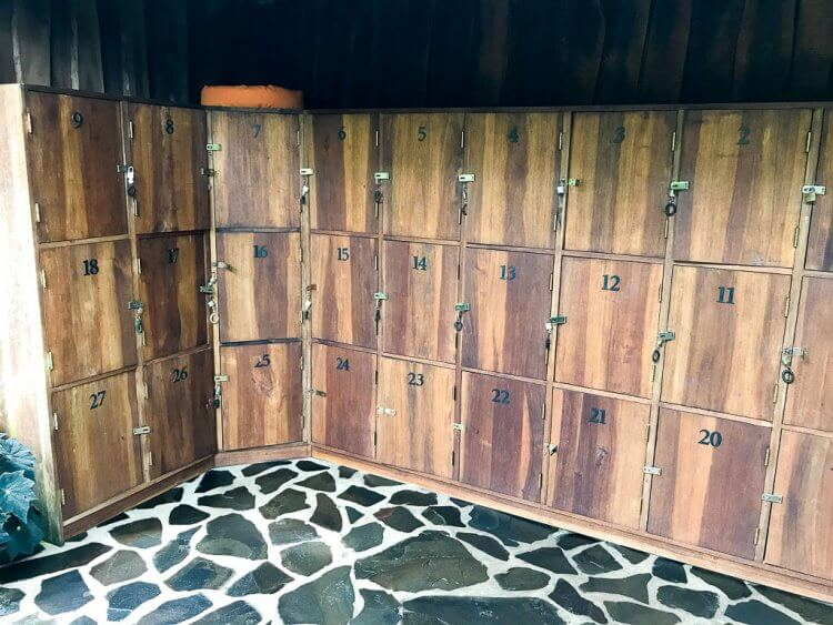 Lockers with locks at the Pure Trek Canyoning office in Costa Rica.