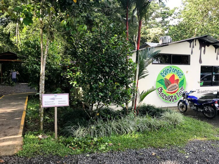 Entrance to the Rainforest Chocolate Tours in La Fortuna.