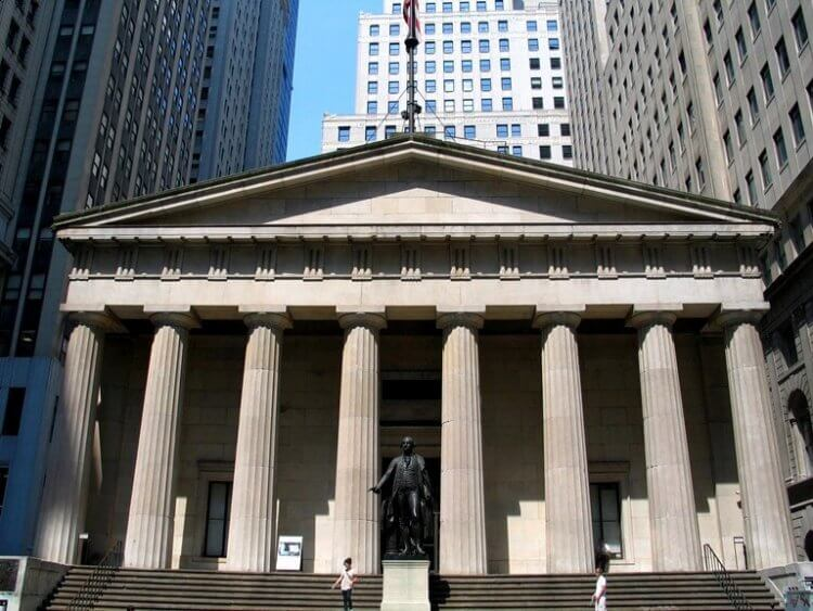Federal Hall on Wall Street with Greek Architecture
