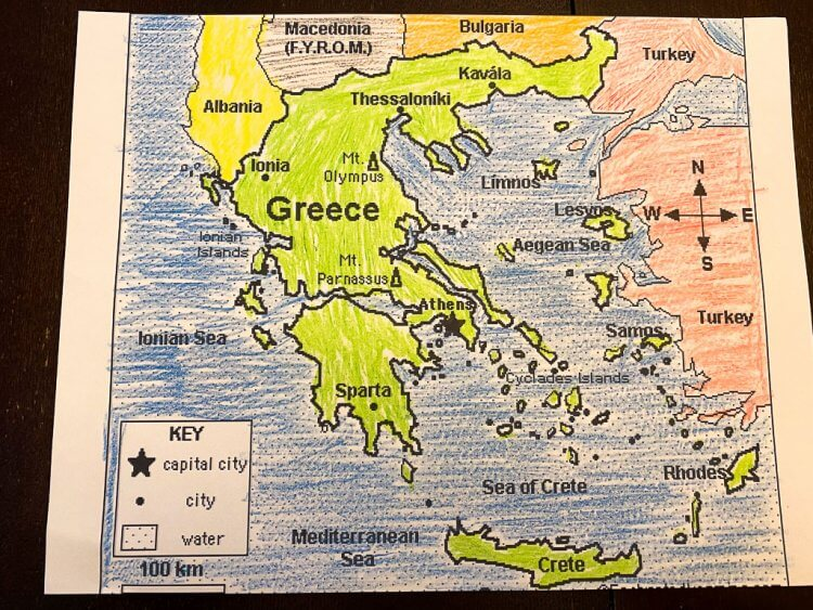 Map of Greece that has been colored.