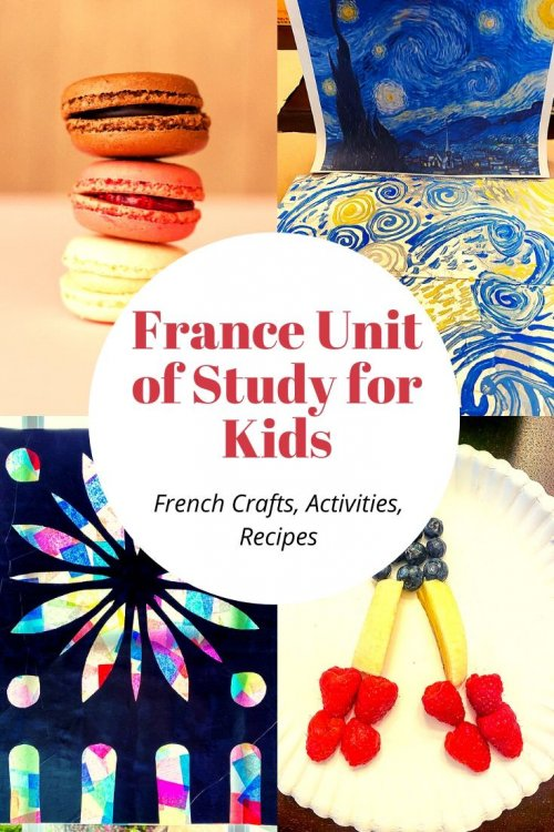 We love learning about new cultures and France is a favorite. Teach your children about France with this France Lesson Plan full of creative and fun ideas for all ages. Included are plenty of free resources from map activities, favorite books about France, plenty of French crafts including Van Gogh paintings and Notre Dame stained glass windows. Kids will be active during the Tour De France bike races and might learn a few French phrases in the video (included). Travel around the world in this virtual trip to France. | France unit study for kids | France crafts for kids | France homeschool unit | French crafts | virtual travel | virtual travel around the worlds |#france #homeschool #virtualtravel #travelwithkids
