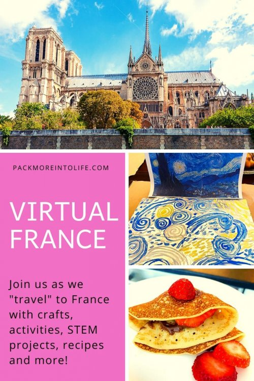 I'm sharing all the free resources I used to teach my son all about France this week, including free activities, crafts, bike rides, how to make crepes with kids, links, educational activities, videos, recipes, and crafts! This comes from our around-the-world unit study, and I'd be thrilled if you used these ideas for learning in your homeschool or classroom. | France unit study for kids | France crafts for kids | France homeschool unit | French crafts | virtual travel | virtual travel around the worlds | #France #homeschool #virtualtravel #travelwithkids