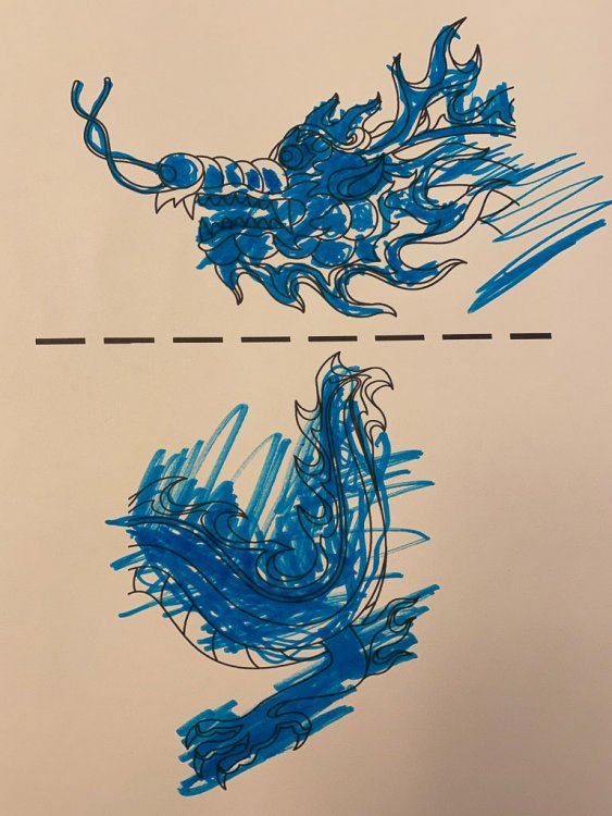 Coloring sheet with dragons that are colored blue.
