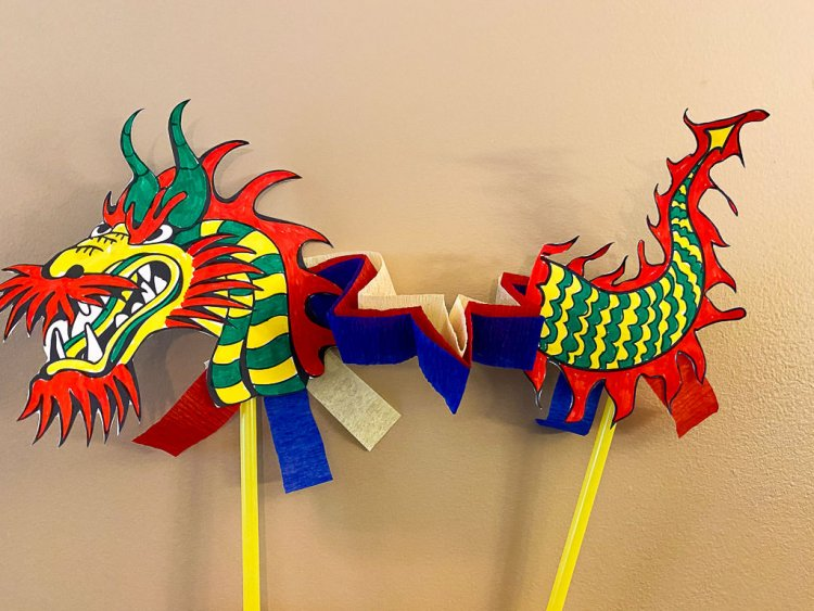 Completed Chinese Paper Dragon Puppet.