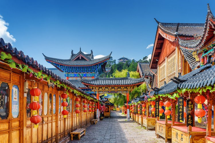 View of the city of china with beautiful colored buildings and temples.