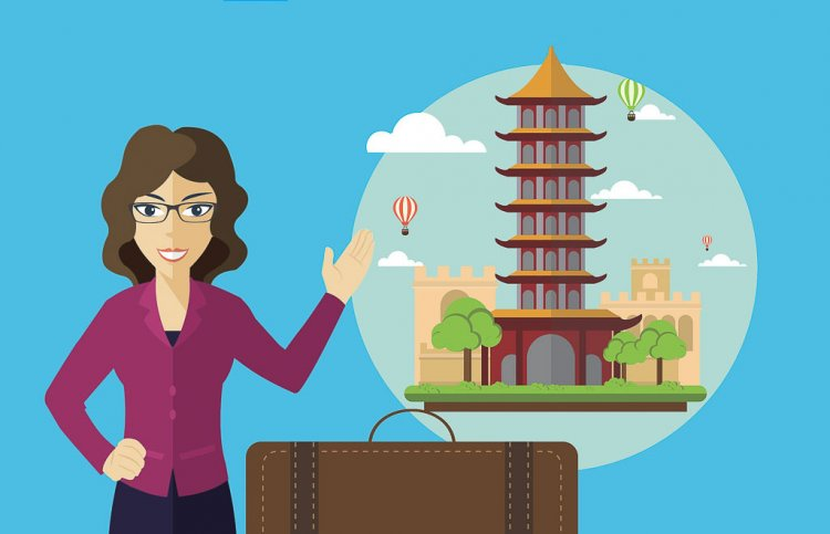 Clip Art with Woman presenting about China.