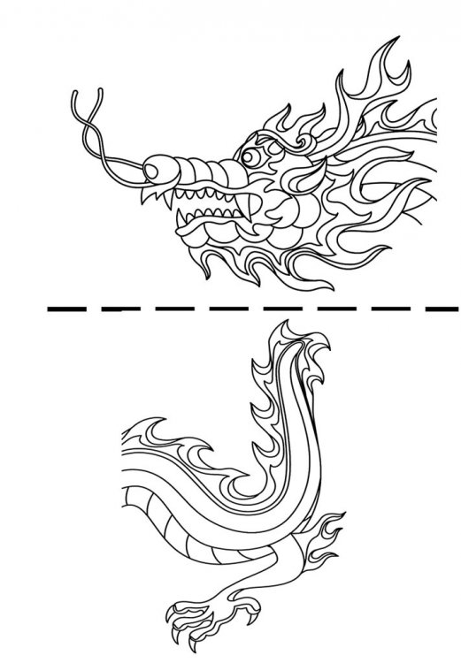 Clip art with a dragon head and a dragon tail for coloring.