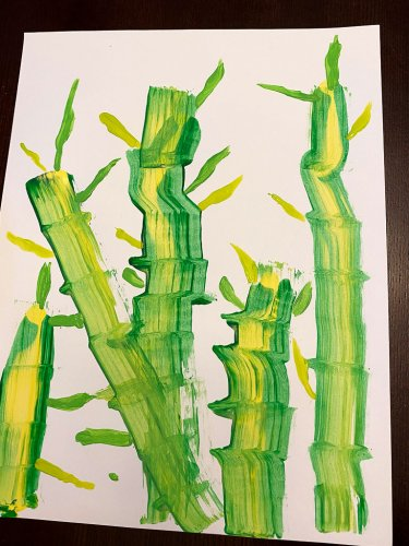 Bamboo, adding painted leaves.