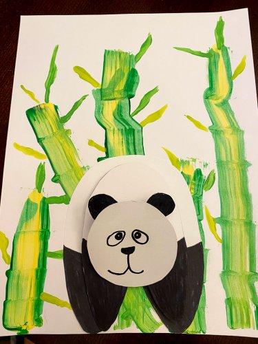 Attaching the Panda's head to it's body.