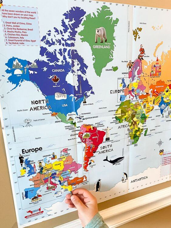 Passport Activity with color map. Child is pointing to Greece.