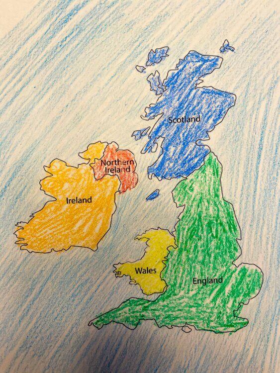 Colored map of Great Britain