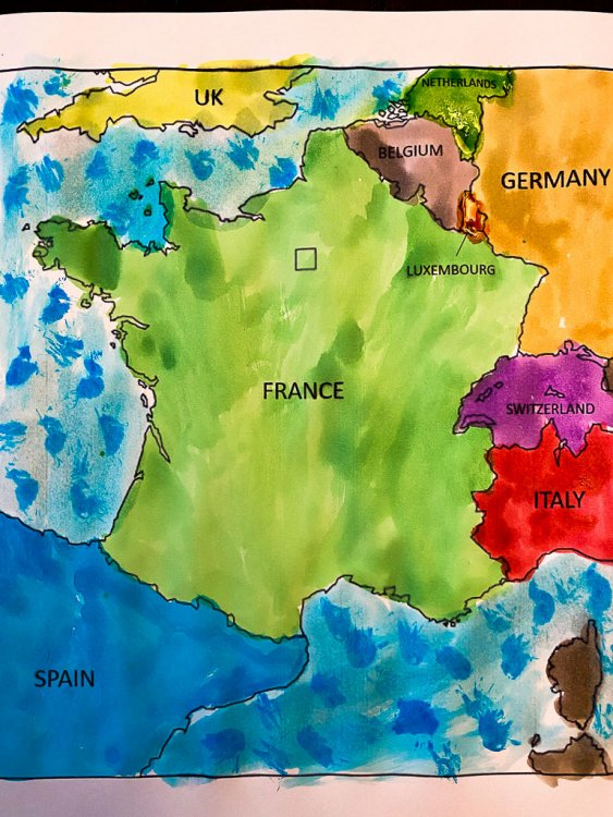 Water color map of France with different colors.