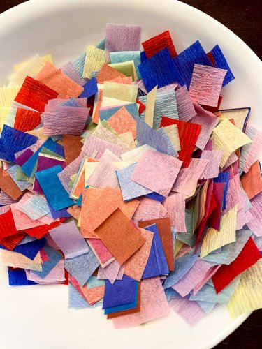 Cut up pieces of crepe paper and tissue paper.
