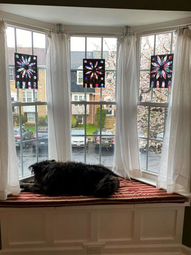 Large bay window with three Notre Dame craft projects and a dog sleeping below.