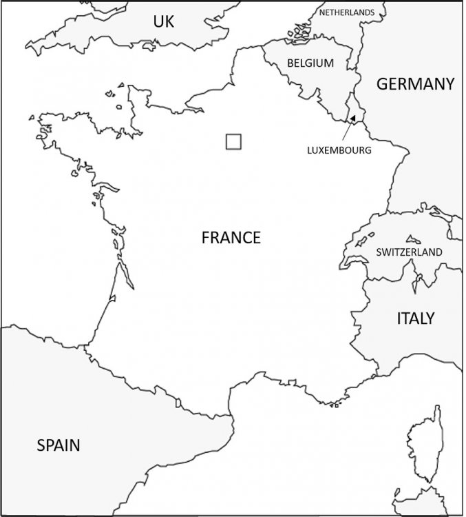 Map of France in black and white.